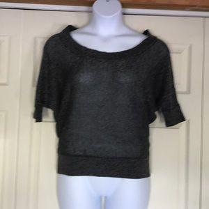 Short raglan sleeve boatneck sweater